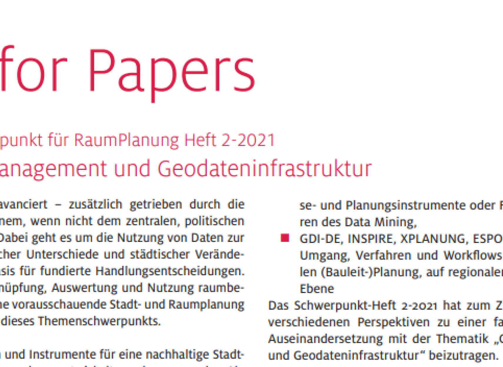 Call for Papers: Geodatenmanagement und Geodateninfrastruktur