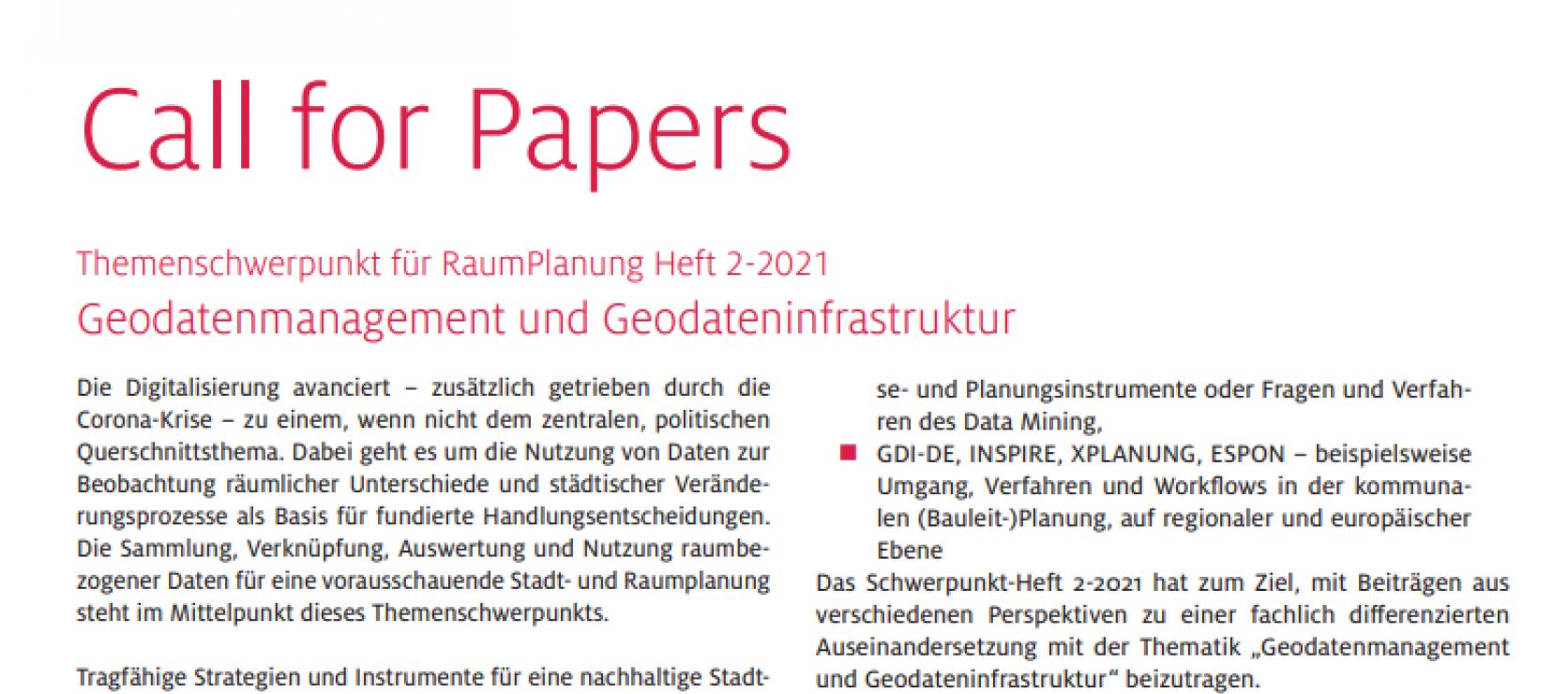 Call for Papers: Geodatenmanagement und Geodateninfrastruktur